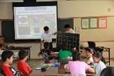 照片:在小学校上开设节能环保教育讲座